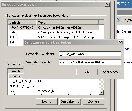 Und der Java Umgebungsvariablen Eintrag + patch - (Windows 7, Server, Java)