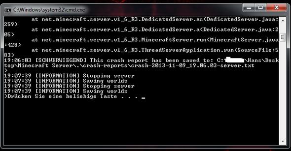 Minecraft Server Console Crasht Es Immer CrashReport - Minecraft server kostenlos erstellen fur immer