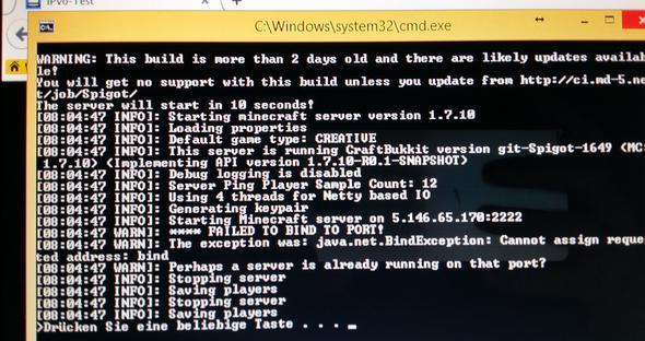 MinecraftServer Fehlermeldung FAILED TO BIND TO PORT Computer - Minecraft server erstellen ohne portfreigabe