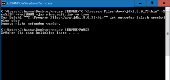 Das ist ein Screenshot vom start.bat Fehler - (Minecraft, Server, Java)