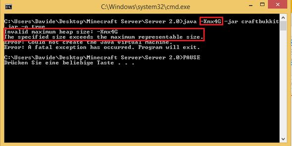 Minecraft Server RAM Zuweisen Geht Nicht Hat Jemand Eine Idee - Minecraft server erstellen funktioniert nicht