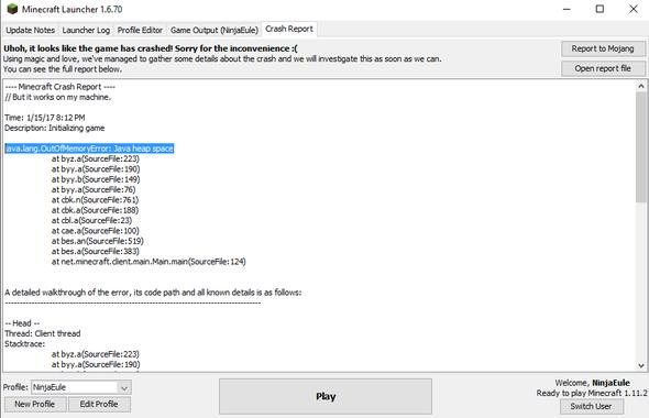Die Fehlermeldung - (Minecraft, abstürzt)