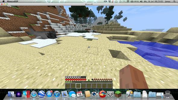 hier sieht man das ich mir ein Hähnchen bei Hunger fällt! - (Minecraft, wie esse ich)