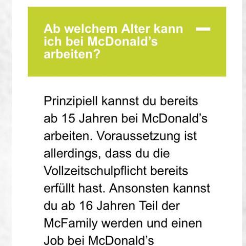 Frage und Antwort von McDonald's  - (Schueler, Minijob, Taschengeld)