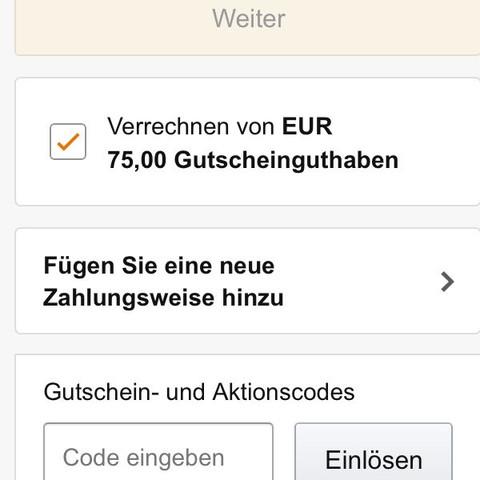 Screenshot vom bestellen, ich sollte auf 'weiter' klicken können - (Amazon, Bestellen, Gutschein)