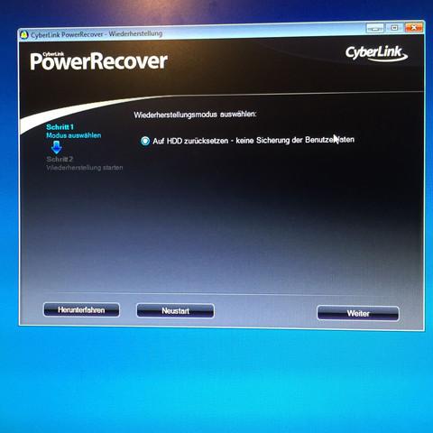 <- CyberLinkPowerRecover so sieht das aus  - (Windows 10, Medion, zurücksetzen)