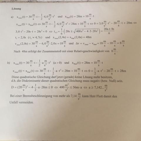 Lösung a) - (Mathe, Physik, Schulaufgabe)