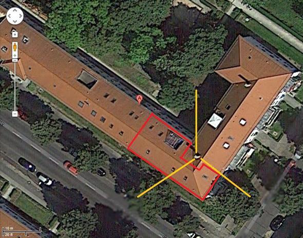 Satellitenaufnahme unseres Wohnhauses - (Mobilfunk, Strahlung, Antenne)