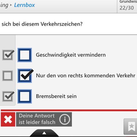 Die Antwort von der Prüfung ist in meiner App Falsch. Ist die Prüfung fehlerhaft - (Theorieprüfung, fehlerhaft, Anfalsche)