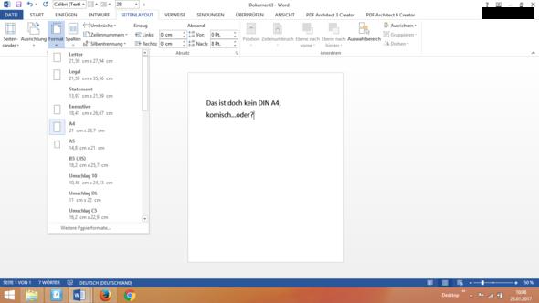 Screenshot ...Das soll ein A4 Format sein - (Word 2013, DIN A4, falsches A4 Format)