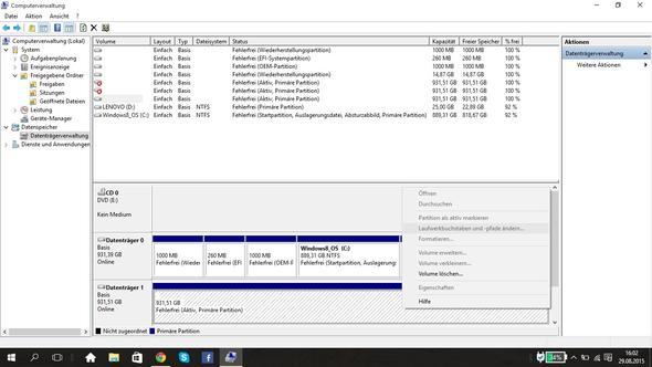 Screenshot der Datenträgerverwaltung - (Windows, externe Festplatte, Datenträgerbuchstabe)