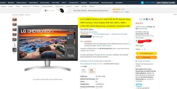 Monitor für die PS5?