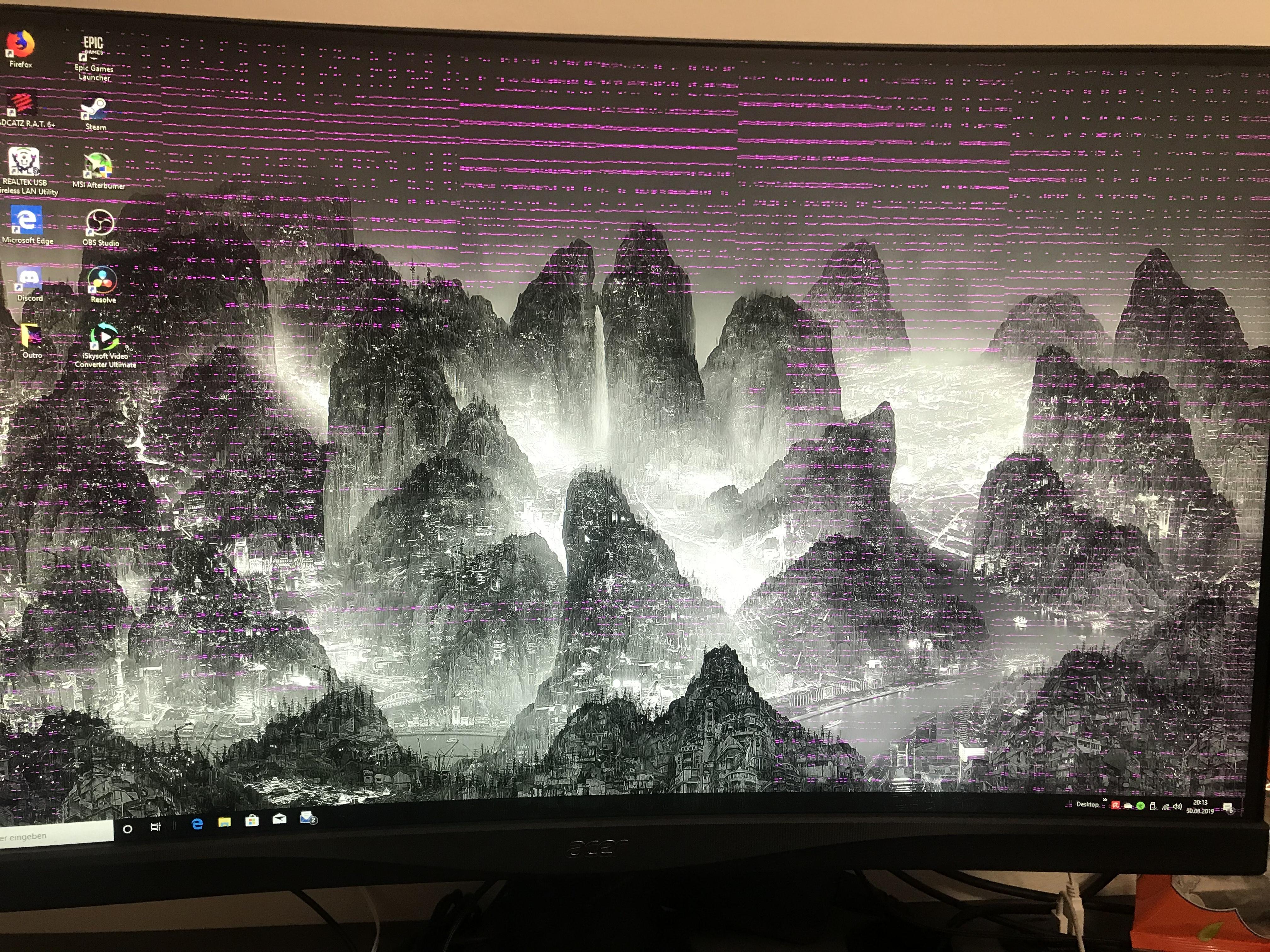 Monitor Hat Viele Kleine Rosa Streifen Computer Technik Technologie