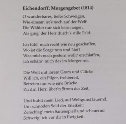 Morgengebet - Joseph von Eichendorff Analyse?