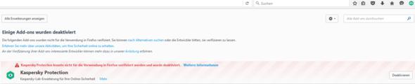 Mozilla Firefox sagt das Kaspersky deaktiviert ist.Ist es aber nicht?