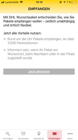 dhl app empfangen aktivieren