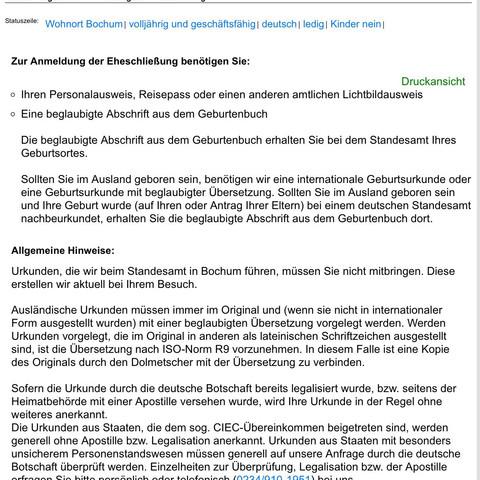 Screenshot der Seite Stadt Bochum - (Behörden, Dokumente, Standesamt)