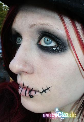 genähter mund (schminke) - (Schminke, Halloween, horrorfigur)
