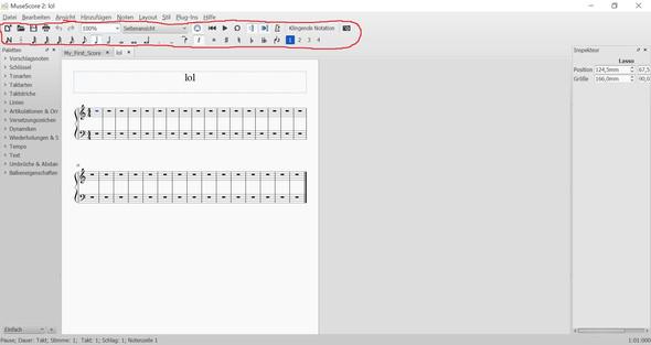 MuseScore 2.0 -> rot umkreist die von mir beschriebene Notenleiste. - (Musik, Einstellungen, Klavier)