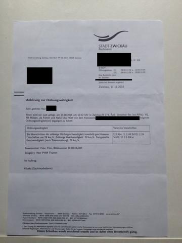Anhörungsbogen - (Verkehrsrecht, Blitzer, StVO)