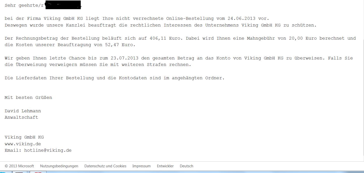Mysteriöse Mahnungnachricht Auf Meiner Email Adresse Ernst Nehmen