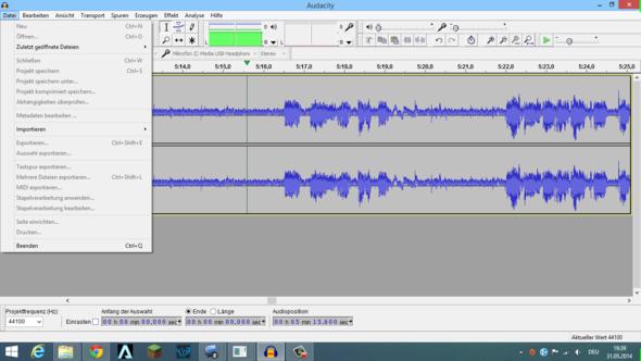 Nach Audioaufnahme sind Alle Funktionen Grau und nicht wählbar [Audacity][]Audioaufnahme Audacity]