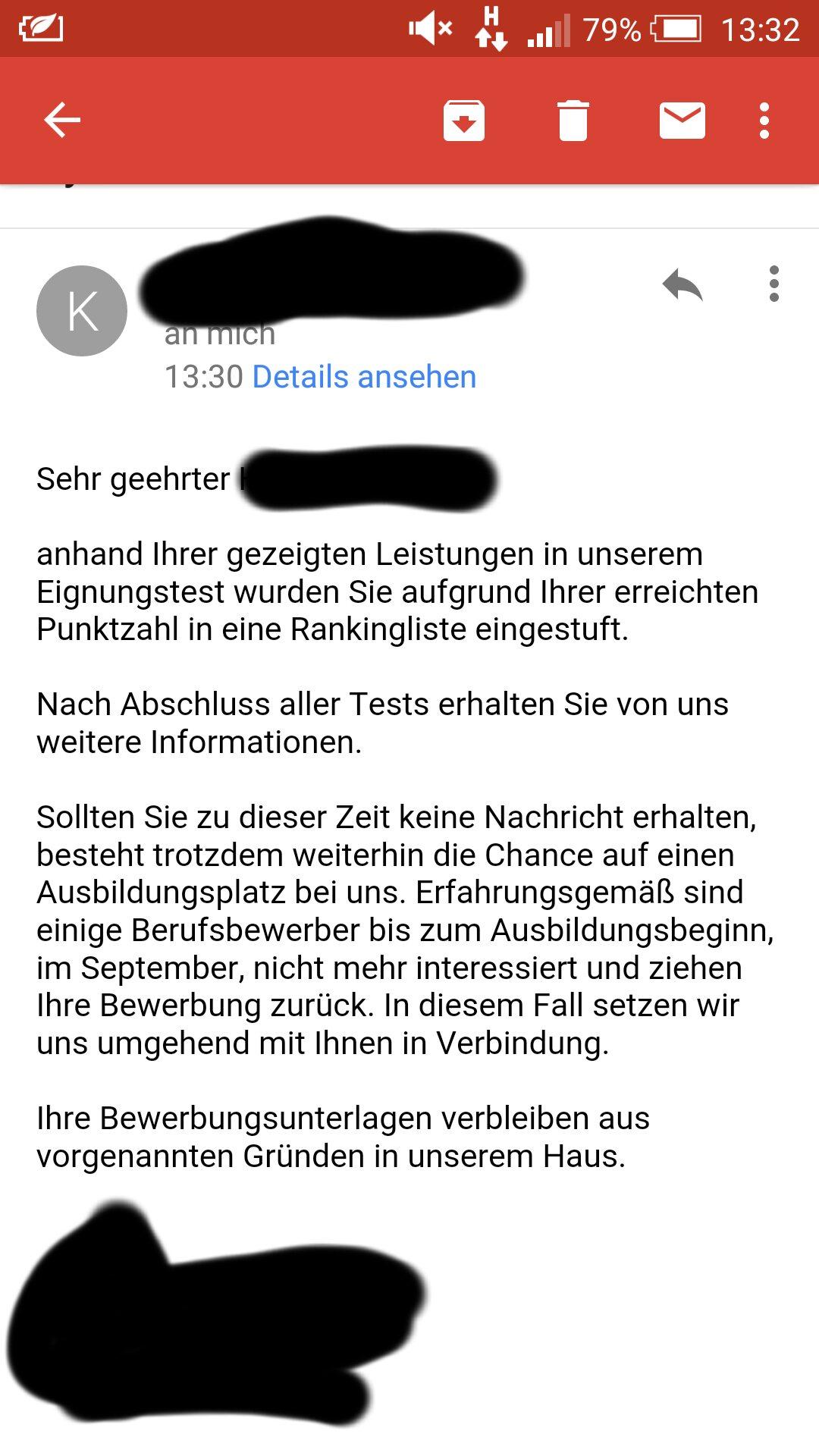 Nach Auswahlverfahren bei der Telekom nun diese Email...was beudeutet das? ( Bewerbung, Ausbildungsplatz)