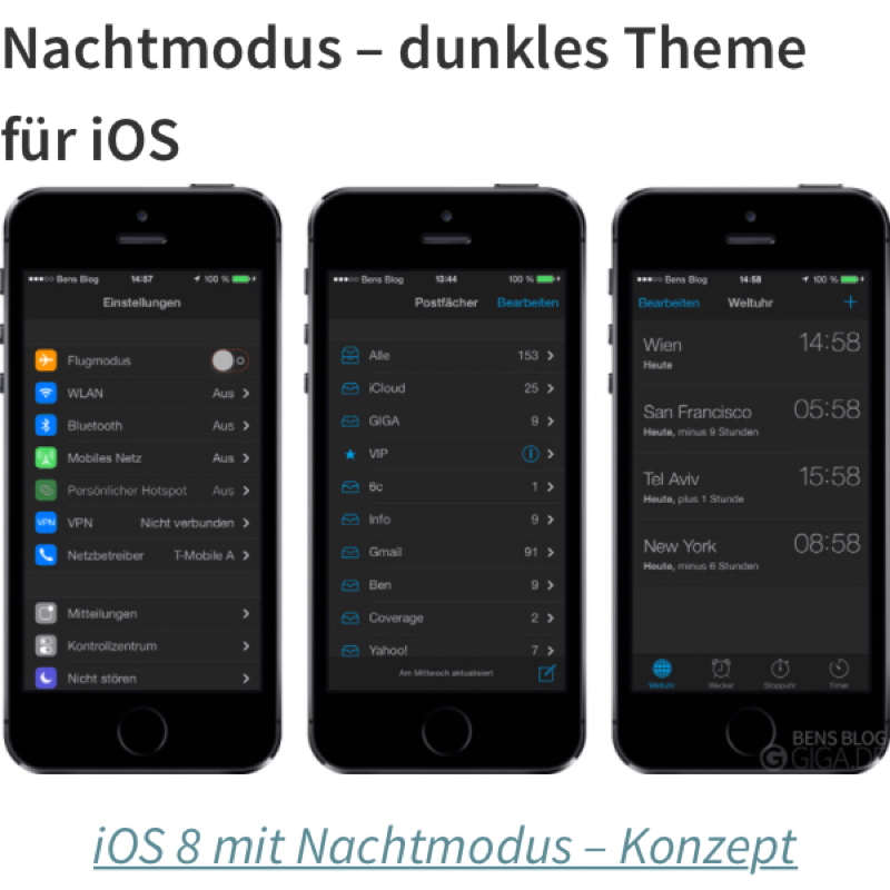 Iphone Nachtmodus