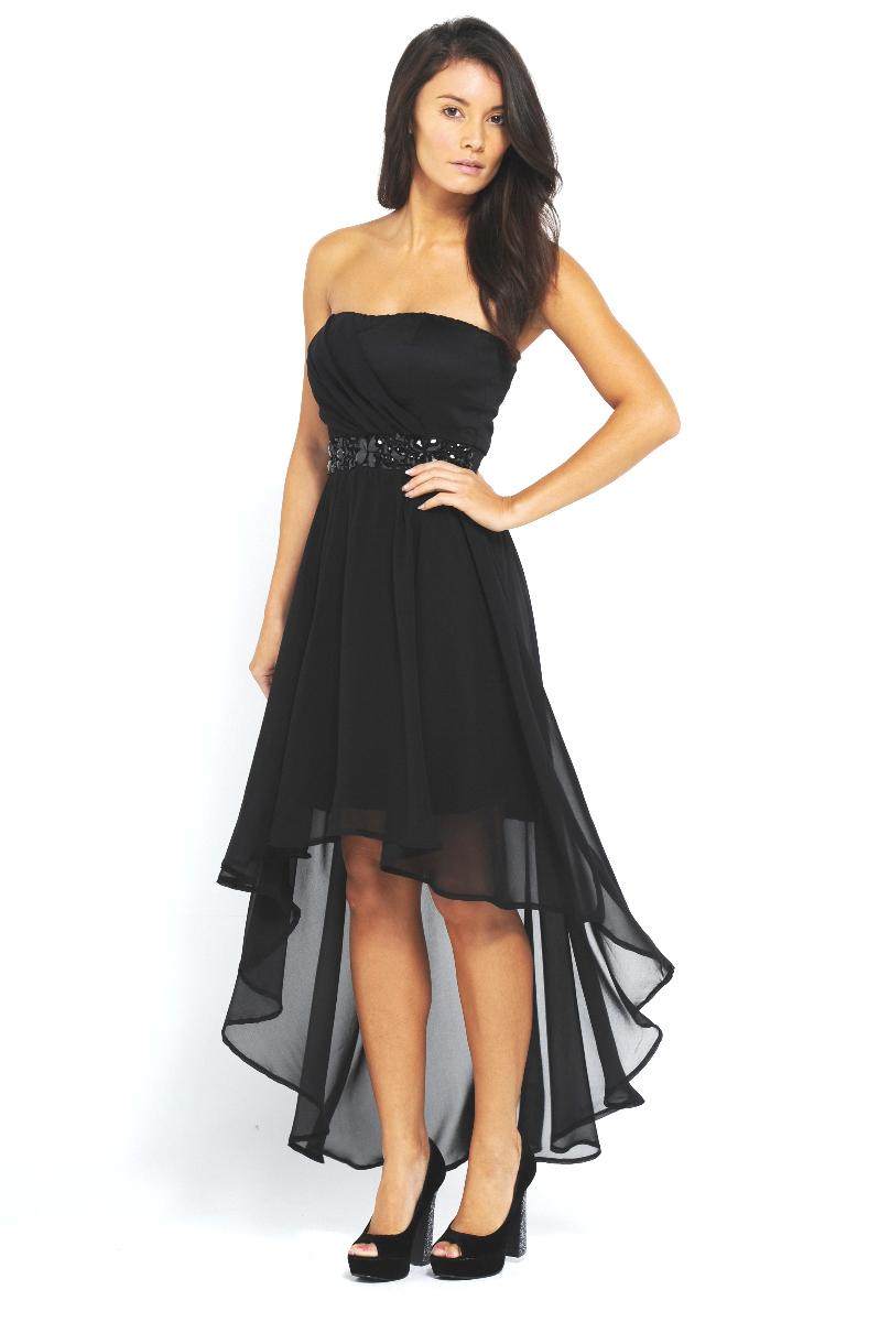 Abendkleid schwarz lang tragerlos