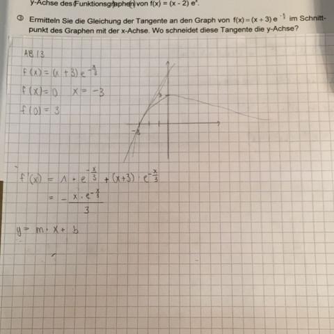 Natürliche Exponentialfunktion und Tangente? (Schule, Mathe ...