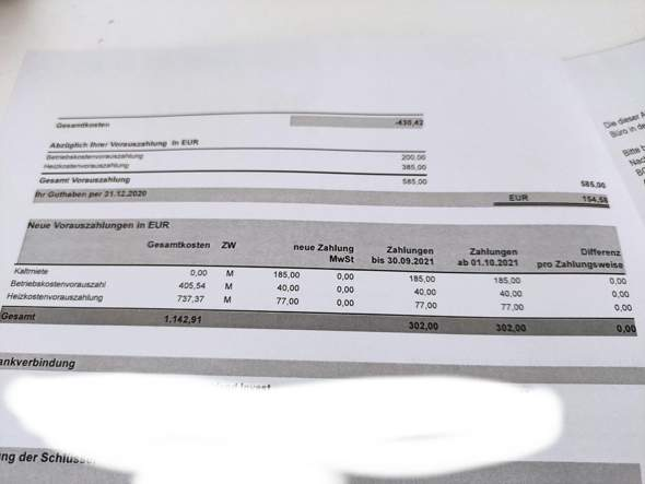 Nebenkostenabrechnung Nachzahlung oder Rückerstattung?