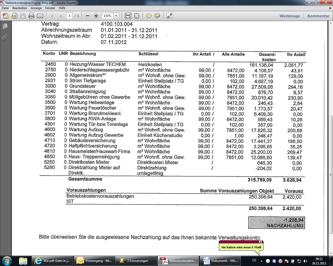 Widerspruchsfrist Nebenkostenabrechnung Recht Auf Belegeinsicht
