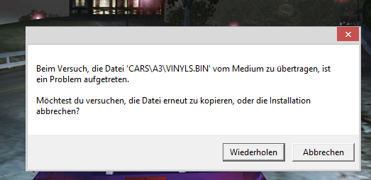 Fehlermeldung - (PC, Need-for-Speed)
