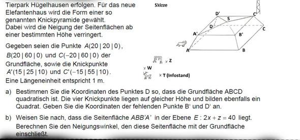 Aufgabenstellung   (Mathe, Neigungswinkel, Seitenfläche)