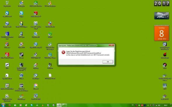 Fehlermeldung nachdem PC hochgefahren ist - (Windows 7, Fehlermeldung, Framework)