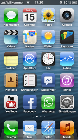 Oben links Willkommen - (Apple, O2, iPhone 5)
