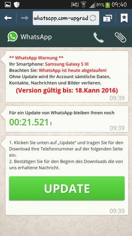 1. Nachricht nach öffnen der Seite - (WhatsApp, Betrug)