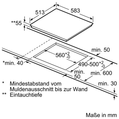 Maßzeichnung - (Küche, Kochfeld, Maßzeichnung)