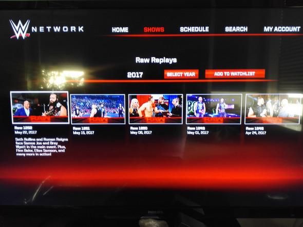 - (WWE, Network, Raw)