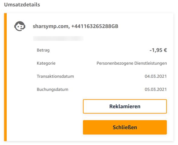 Nicht identifizierbare Abbuchungen von sharsymp.com auf meinem Konto der Amazon VISA-Karte - Was tun?
