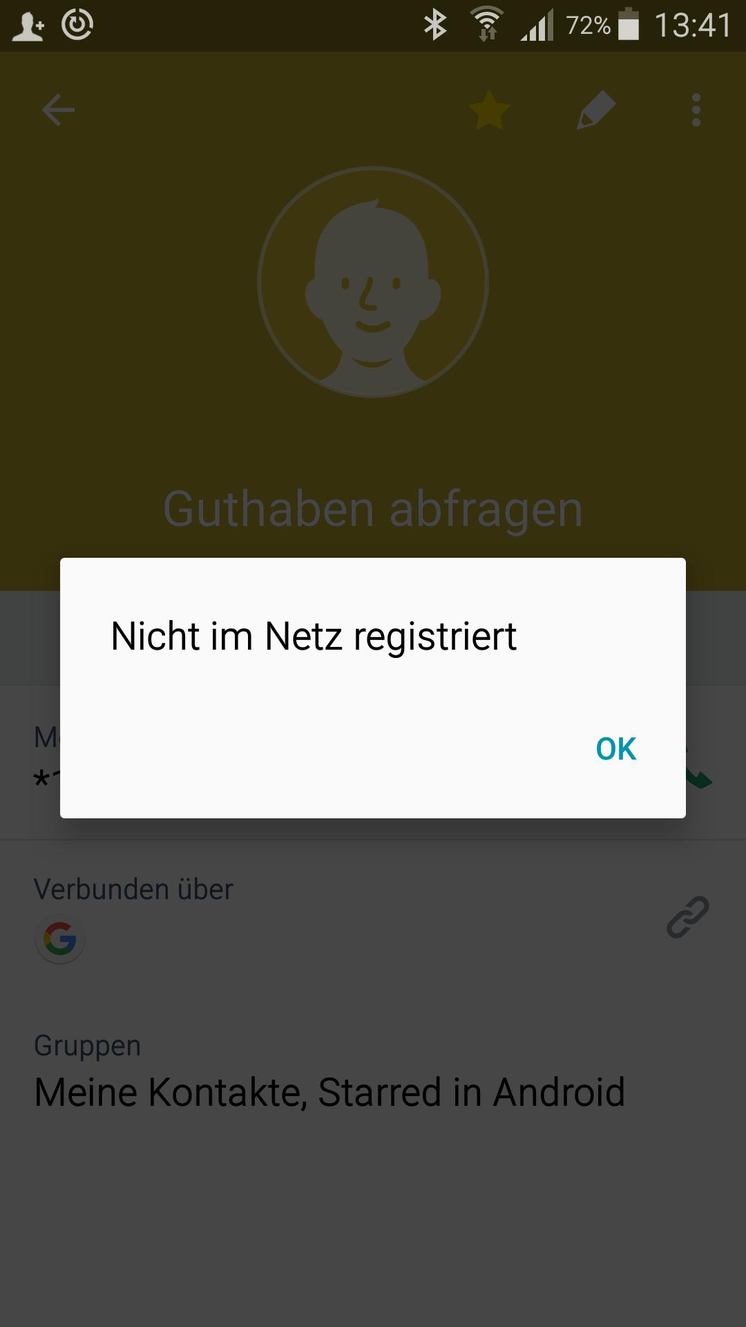 aldi nicht im netz registriert
