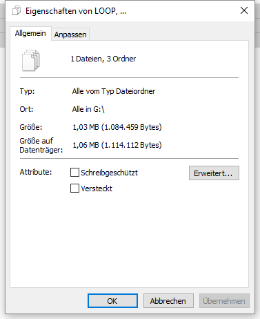 Inhalt aller Ordner der SD-Karte: nur ca. 1MB - (Computer, PC, Technik)