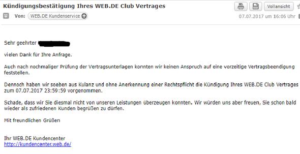hier screenshot - (Kündigung, web.de)
