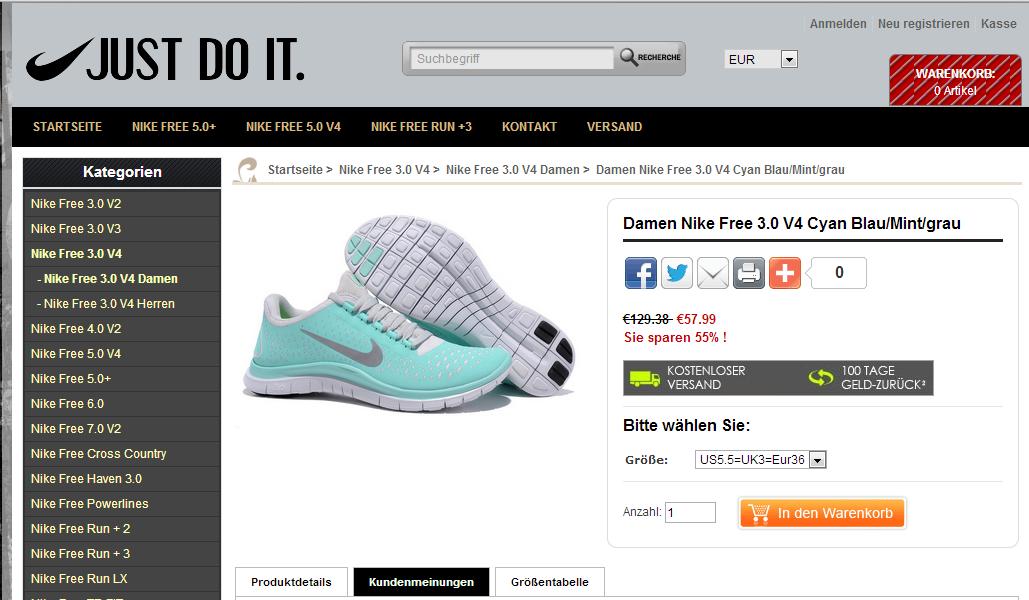 Nike Free 3.0 V4 Damen Mint