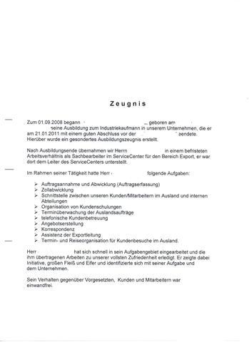 Arbeitszeugniss 1 - (Ausbildung, Arbeitszeugnis, Personal)