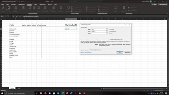 Notendurchschnitt in Excel berechnen?
