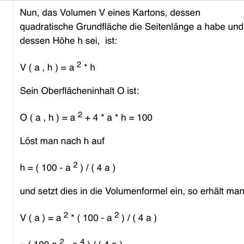 Im Internet die Vorgehensweise - (Mathe, Mathematik, Volumen)