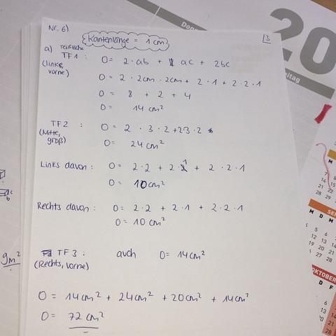 Lösung - (Mathe, Würfel, Oberflächeninhalt)
