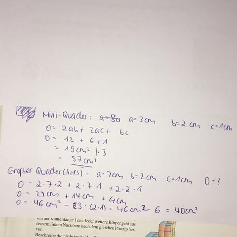 Lösung - (Mathe, Oberflächeninhalt)