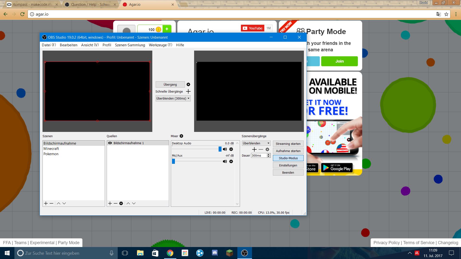 OBS Bei Bildschirmaufnahme Blackscreen Computer Google Bildschirm
